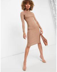 I Saw It First Jersey Midi High Neck Bodycon Dress - Multicolour