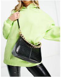 TOPSHOP Pu Croc Crossbody Bag - Black