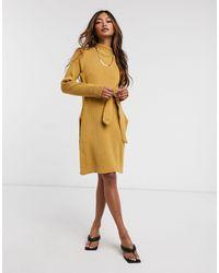 UNIQUE21 Roll Neck Mini Jumper Dress - Natural