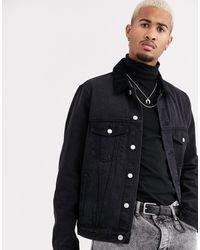 TOPMAN Denim Jacket With Cord Collar - Black
