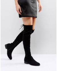 fc8a5e90607 Lost Ink Gain Stretch Chunky Flat Over The Knee Boots in Black - Lyst