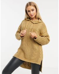I Saw It First Cable Knit Hoodie - Brown