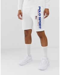Polo Ralph Lauren Weiße Sweat-Shorts mit Logo aus der Retro Sport Capsule-Collection