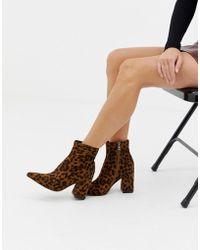 Public Desire Empire Leopard Print Block Heeled Ankle Boots - Brown