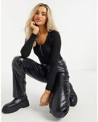 Brave Soul Noemi Zipped Bodysuit - Black