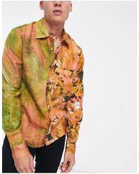ASOS Свободная Рубашка От Комплекта С Абстракцией На Одной Стороне И Принтом На Другой - Красный