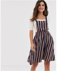Vila Stripe Pinafore Dress-multi - Blue