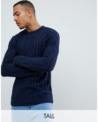 Another Influence Tall Cable Knit Jumper - Blue