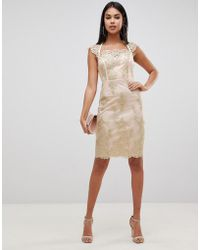 Lipsy Embroidered Midi Pencil Dress With Cap Sleeve In Gold - Metallic
