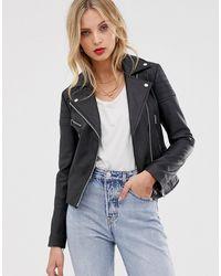 Barneys Originals Barney's Originals Clara Real Leather Biker Jacket - Black