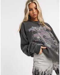 New Girl Order Oversized Long Sleeve T-shirt With Wasteland Lightning Print - Grey