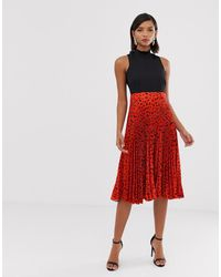 Closet 2 In 1 High Neck Skater Dress With Pleated Skirt In Red Fleck Print