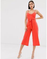 TFNC London Culottes con lazada en la cintura - Naranja