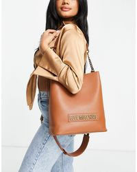 Love Moschino Светло-коричневая Сумка-мешок С Логотипом -коричневый Цвет