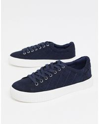 New Look Faux Suede Trainers - Blue