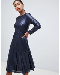 TFNC London Long Sleeve Fit And Flare Sequin Midi Dress In Navy - Blue