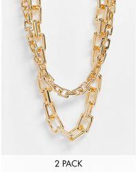 ASOS Confezione da 2 collane a catena con maglie squadrate color oro - Metallizzato