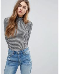 Abercrombie & Fitch - Frill Roll Neck Top - Lyst