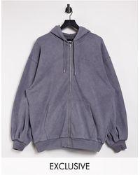 Reclaimed (vintage) Inspired Zip Up Hoodie - Grey