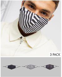 ASOS Pack de 3 mascarillas negras con estampado - Negro