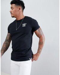11 Degrees Camiseta ajustada negra con logo de - Negro