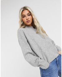 & Other Stories Oversized Mock Neck Sweater - Gray