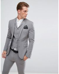 ASOS Super Skinny Fit Suit Jacket In Mid Gray