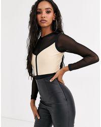 The Girlcode Body a fascia a maniche lunghe con dettaglio - Nero