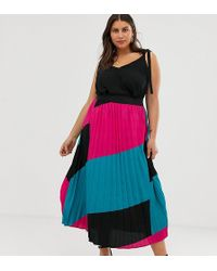 Simply Be Pleated Midi Skirt In Color Block Pink And Turquoise - Multicolor