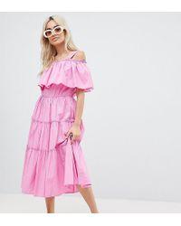 Vero Moda - Tiered Off Shoulder Midi Dress - Lyst