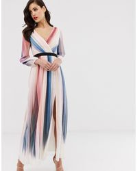 Little Mistress Vestido cruzado de manga larga con estampado de rayas sombreadas - Multicolor