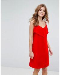 Lavand Vestido camisola con capa superior con volantes de - Rojo