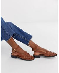 ASOS Mady Leather Woven Flat Shoes - Multicolour