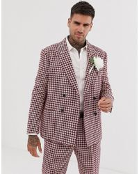 ASOS Wedding Slim Double Breasted Suit Jacket With Large Houndstooth In Burgundy Wool Blend - Red
