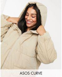 ASOS Asos Design Curve Puffer Jacket - Brown