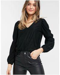 Pieces Черная Блузка С Длинными Рукавами И V-образным Вырезом -черный Цвет