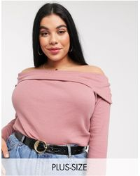 Simply Be Fold Over Bardot Top - Pink