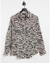 SELECTED Femme - Camicia neutra con stampa animalier - Nero