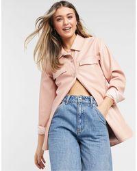 Threadbare Cola Faux Leather Shirt Jacket - Pink