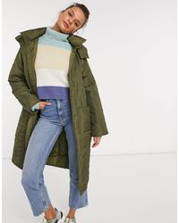 ASOS Quilted Parka With Contrast Stitching - Green