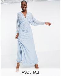 ASOS ASOS DESIGN Tall - Robe longue à manches chauve-souris et broderie fleurie - Bleu