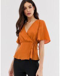 Y.A.S Wrap Top - Orange
