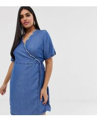 Simply Be Wrap Denim Dress With Scallop Trim In Blue