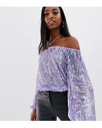 ASOS Asos Design Tall Festival Sequin Bardot Body In Lilac Purple