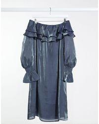Elvi - Серебристое Платье С Открытыми Плечами И Эффектом Металлик -серебристый - Lyst