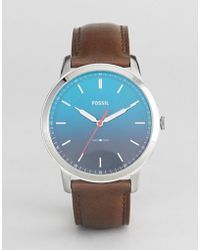 Fossil - Fs5440 The Minimalist Leather Watch With Ombre Face - Lyst