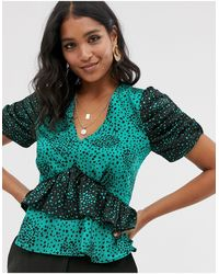 River Island - Frill Layer Blouse In Green Print - Lyst