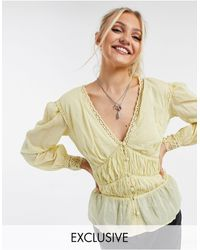 Reclaimed (vintage) Inspired Ruched Panel Blouse With Lace Cuffs-yellow - Multicolour