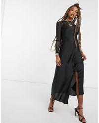 Free People Черное Платье-комбинация Макси -черный