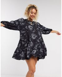 Motel Mini Pleated Smock Dress - Black